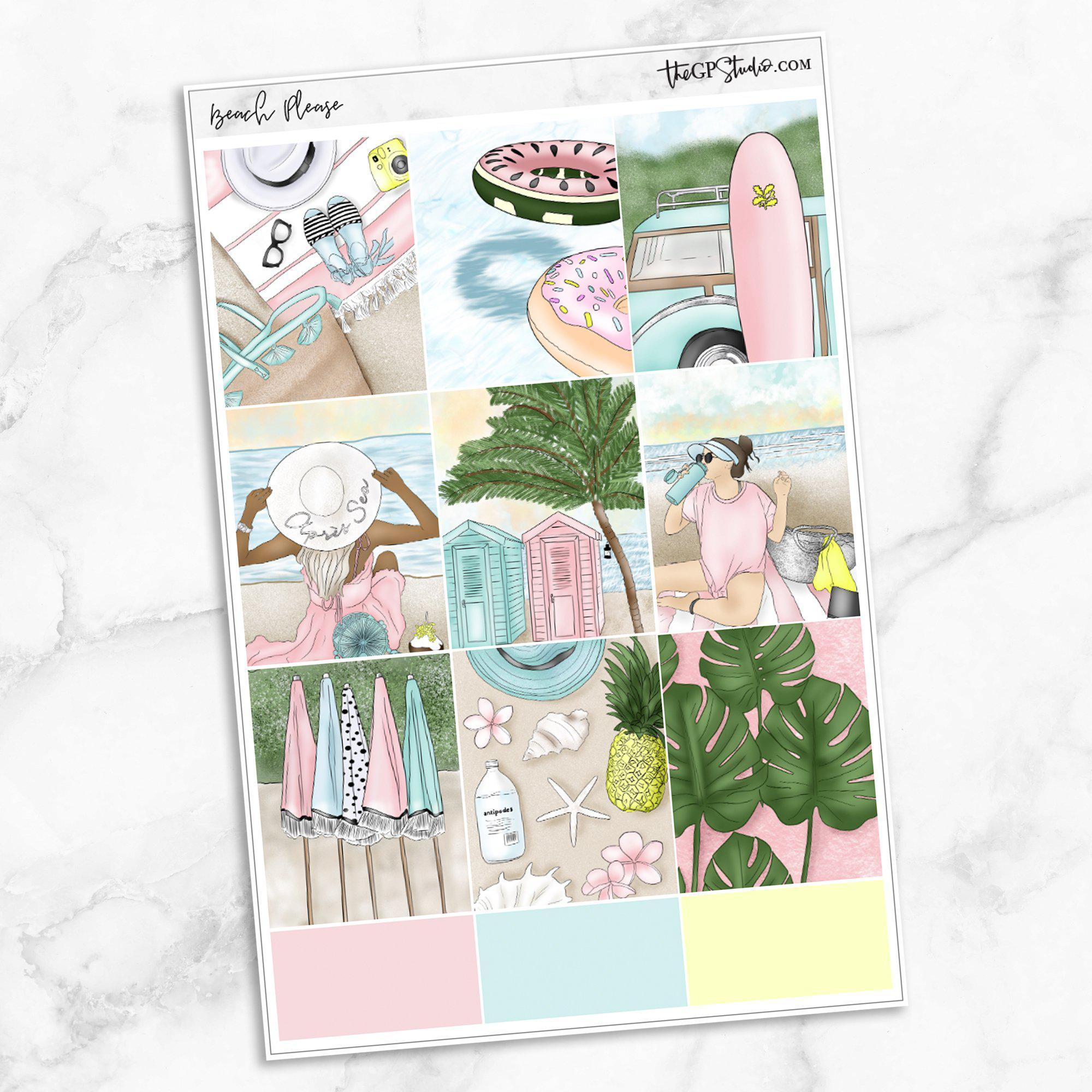BEACH PLEASE Full Boxes Planner Stickers-The GP Studio