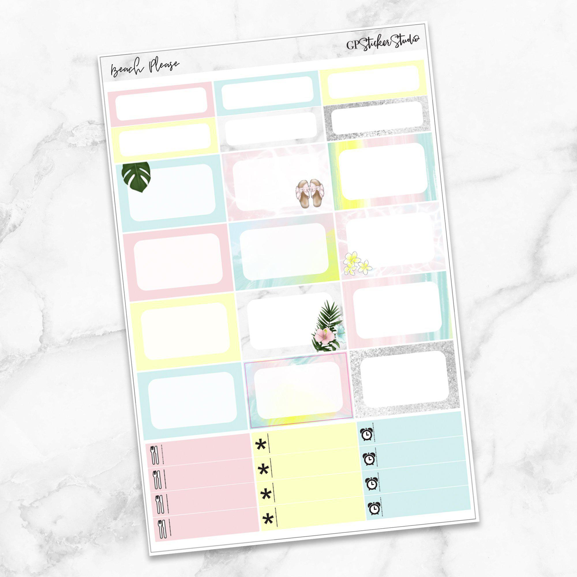 BEACH PLEASE Half Boxes Planner Stickers-The GP Studio
