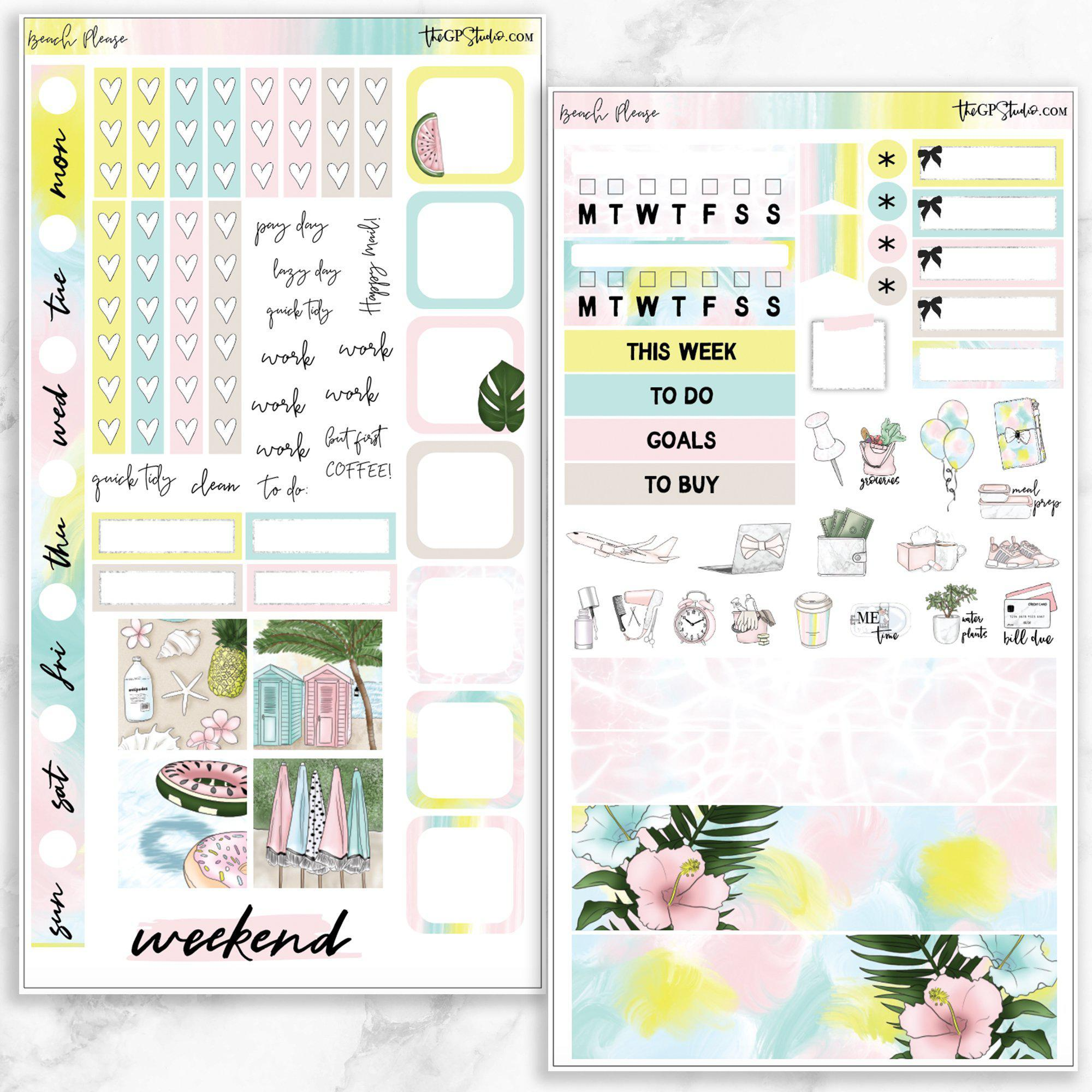 BEACH PLEASE Hobonichi Weekly Size Planner Sticker Kit-The GP Studio