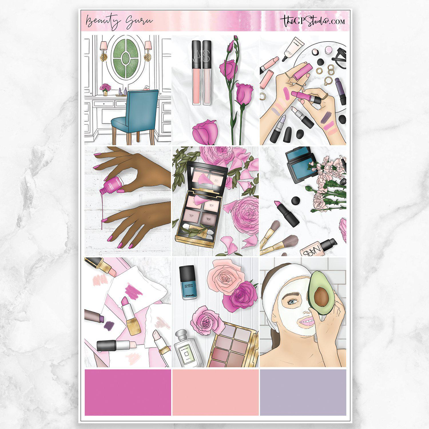BEAUTY GURU Full Boxes Planner Stickers-The GP Studio