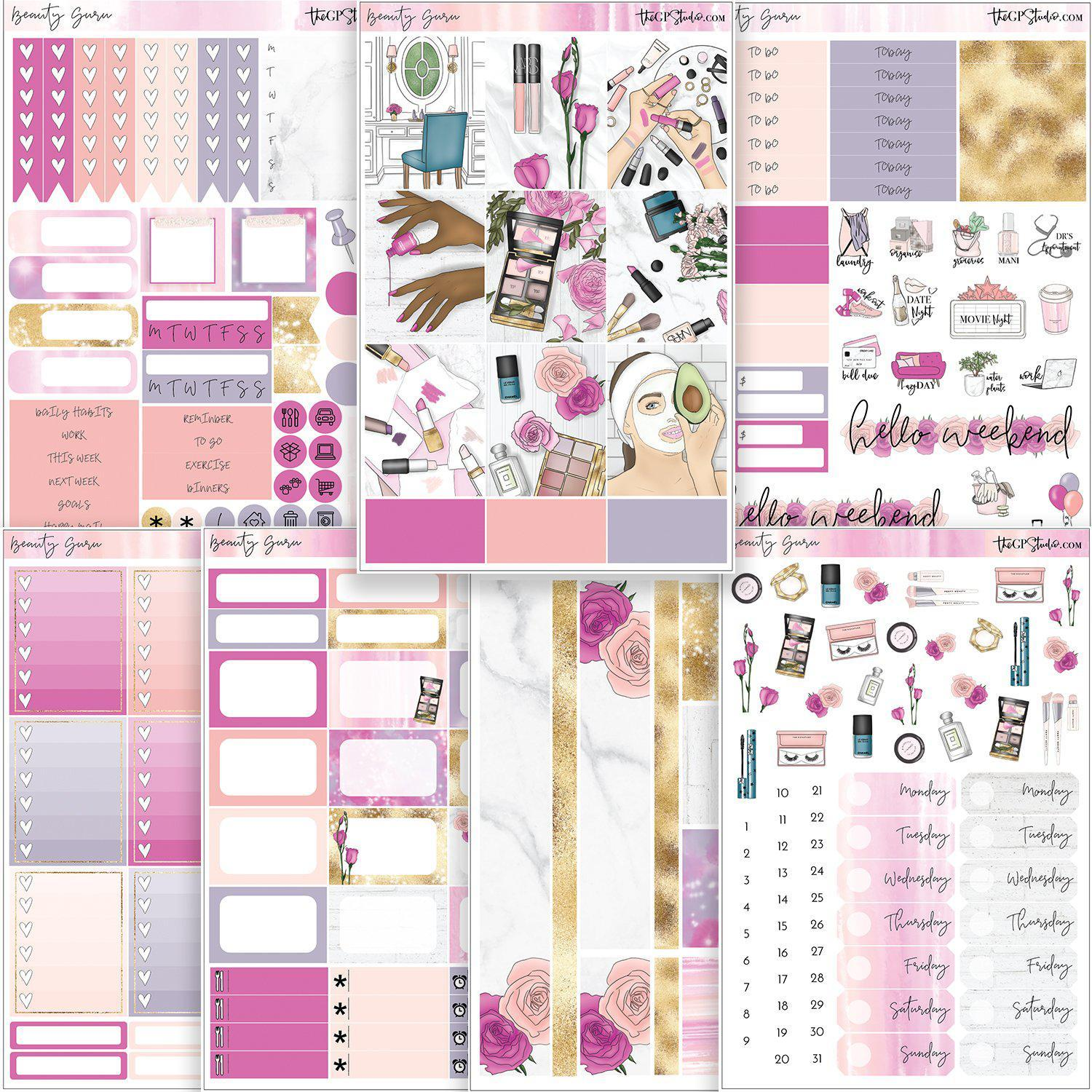 BEAUTY GURU Planner Sticker Kit-The GP Studio