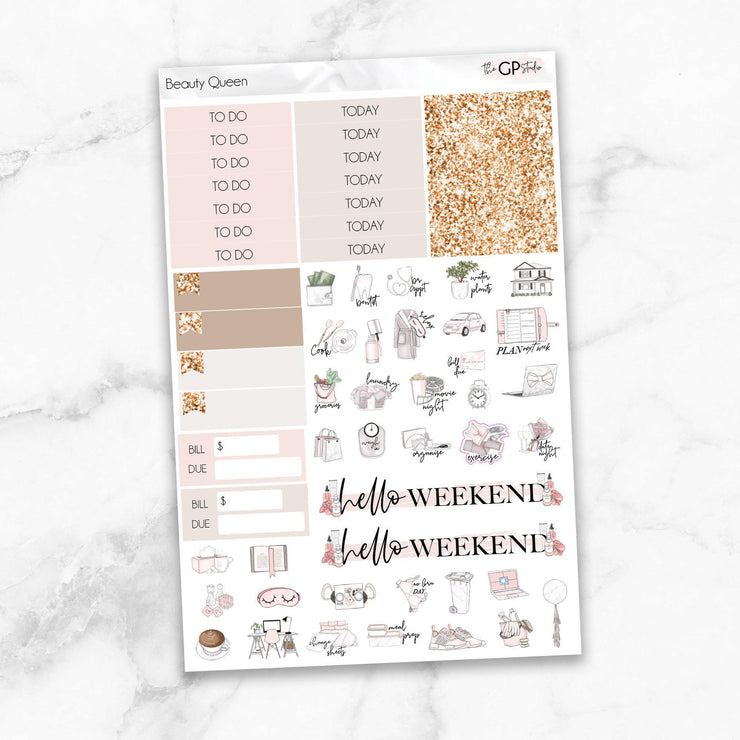 BEAUTY QUEEN Functional Planner Sticker Kit-The GP Studio