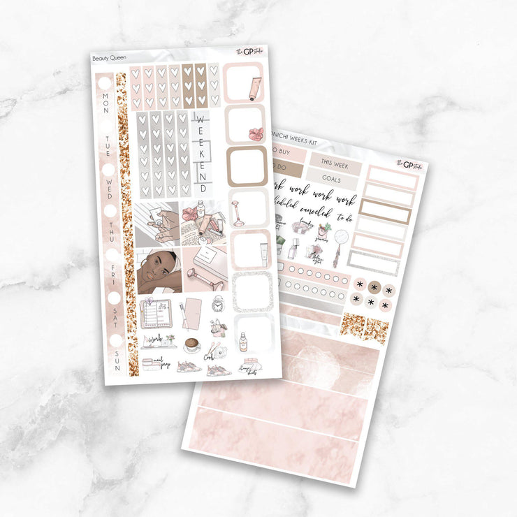 BEAUTY QUEEN Hobonichi Weekly Size Planner Sticker Kit-The GP Studio