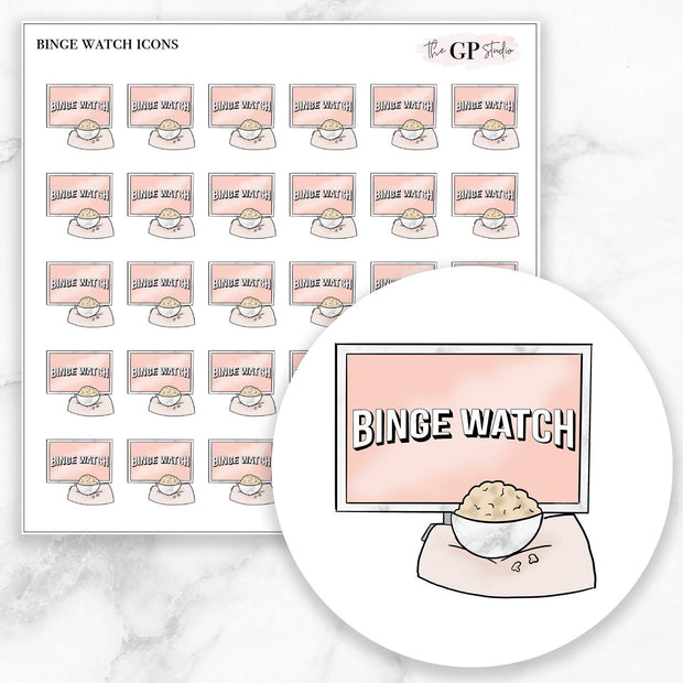 BINGE WATCH Icons Stickers-The GP Studio