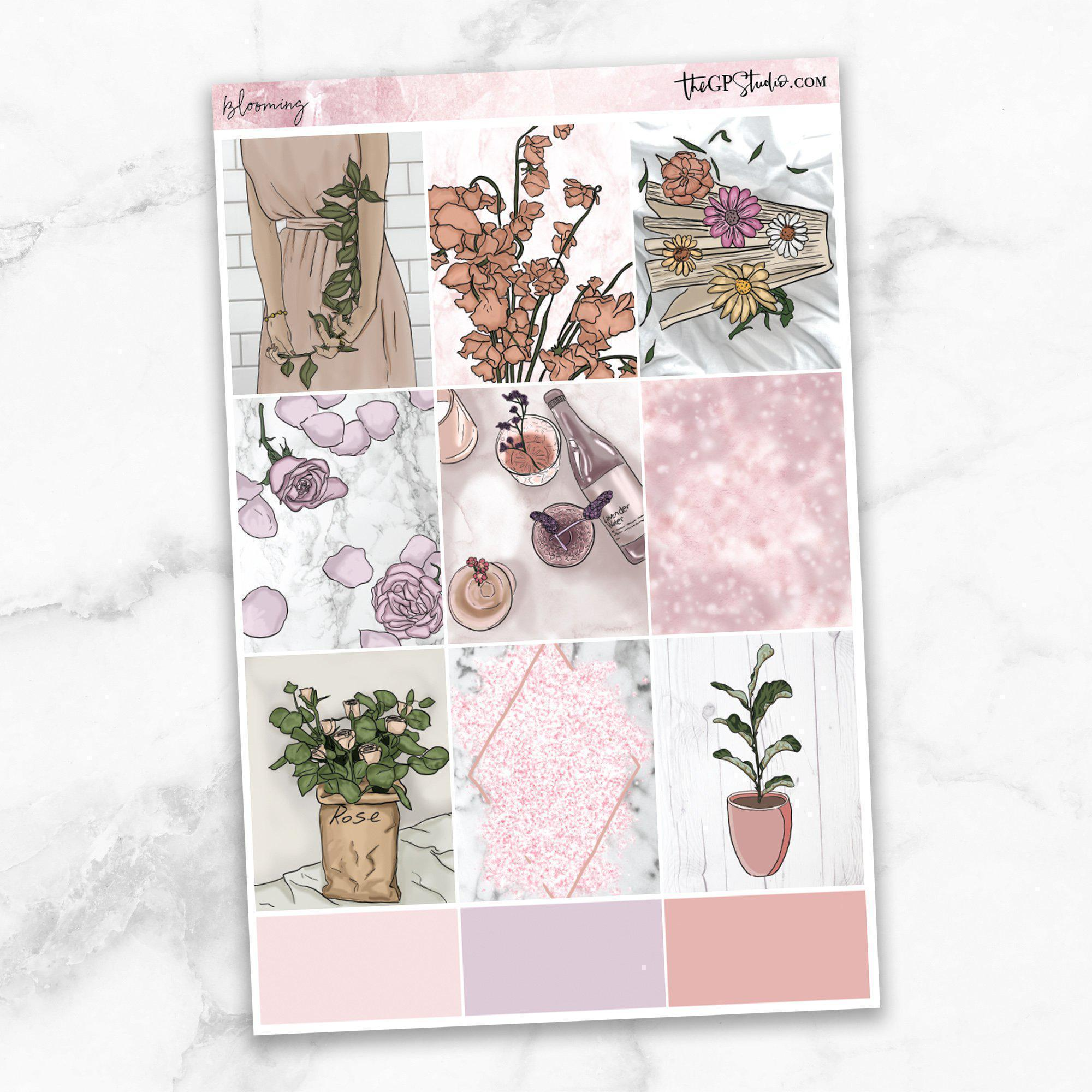 BLOOMING Full Boxes Planner Stickers-The GP Studio