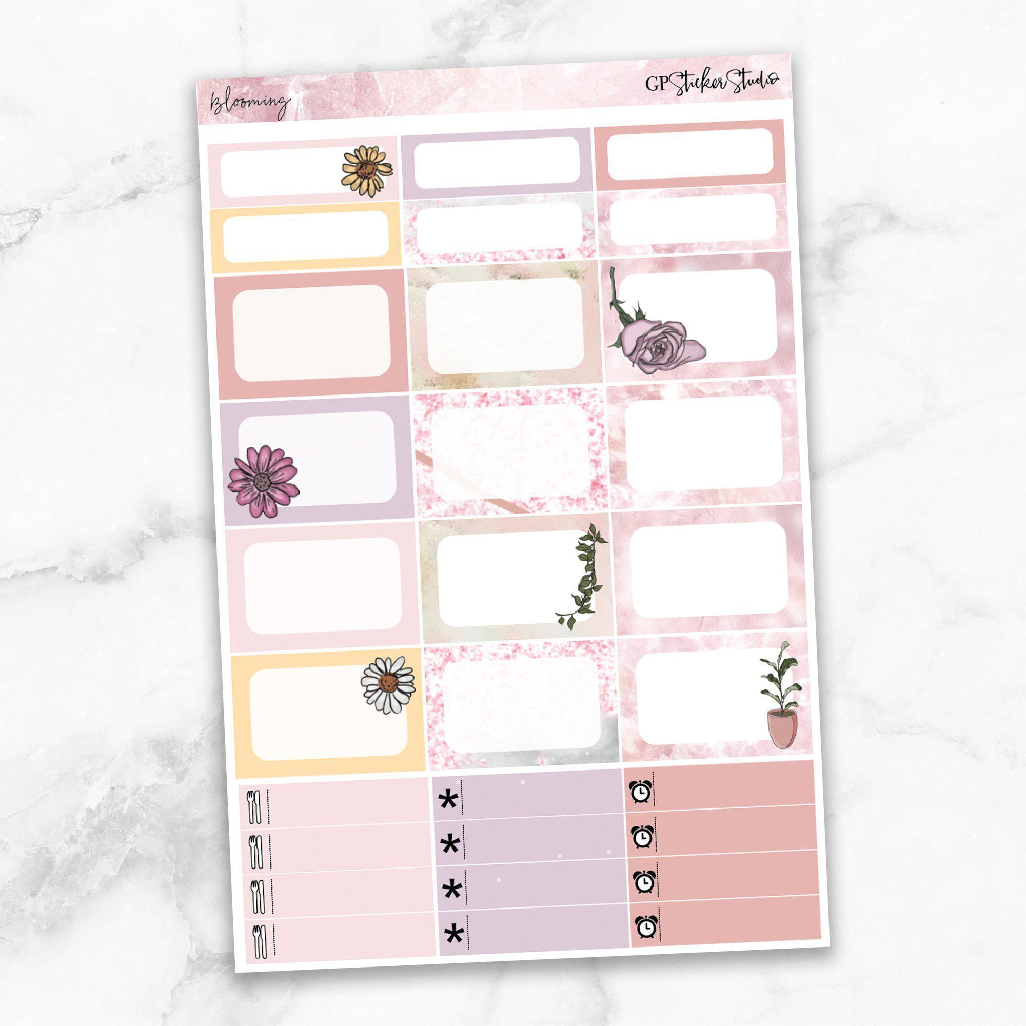 BLOOMING Half Boxes Planner Stickers-The GP Studio