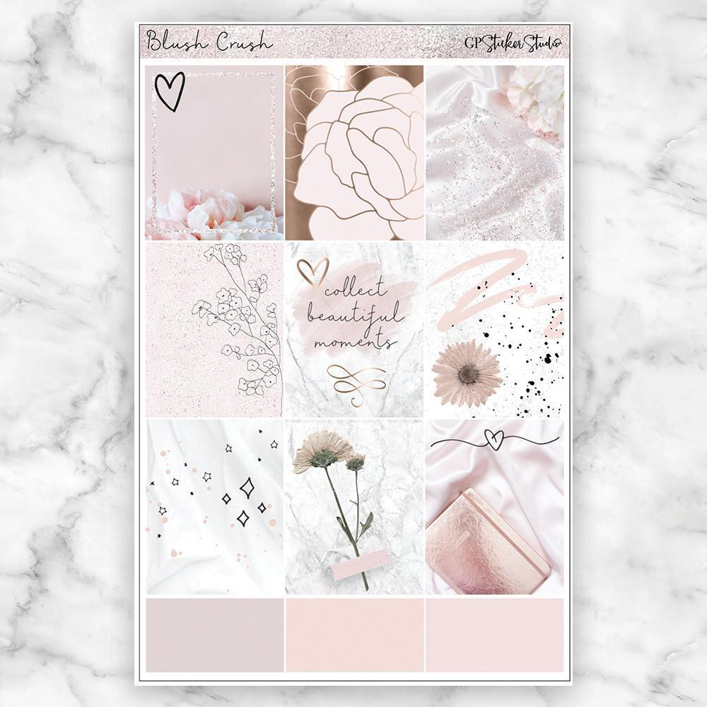 BLUSH CRUSH Full Boxes Planner Stickers-The GP Studio