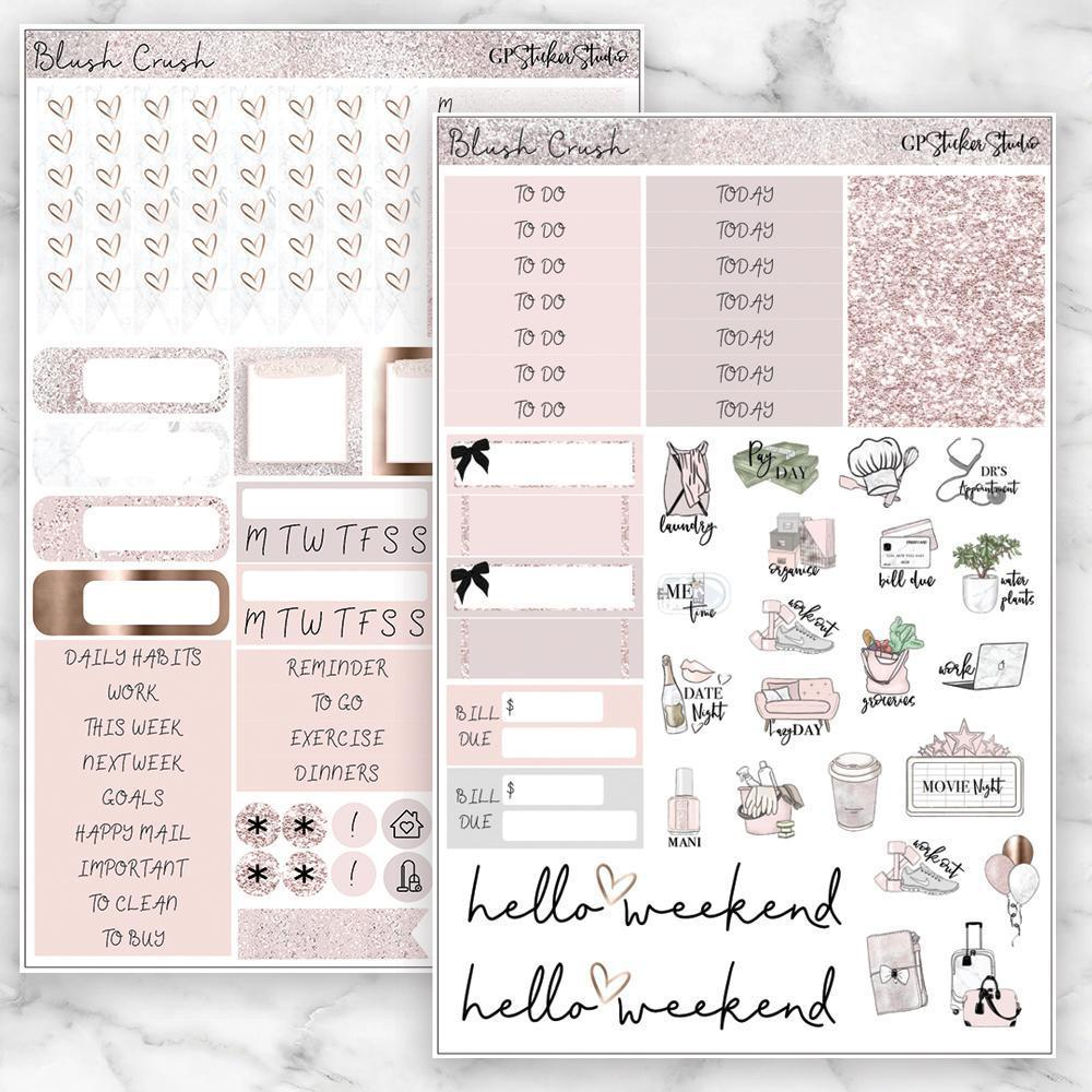 BLUSH CRUSH Functional Planner Sticker Kit-The GP Studio