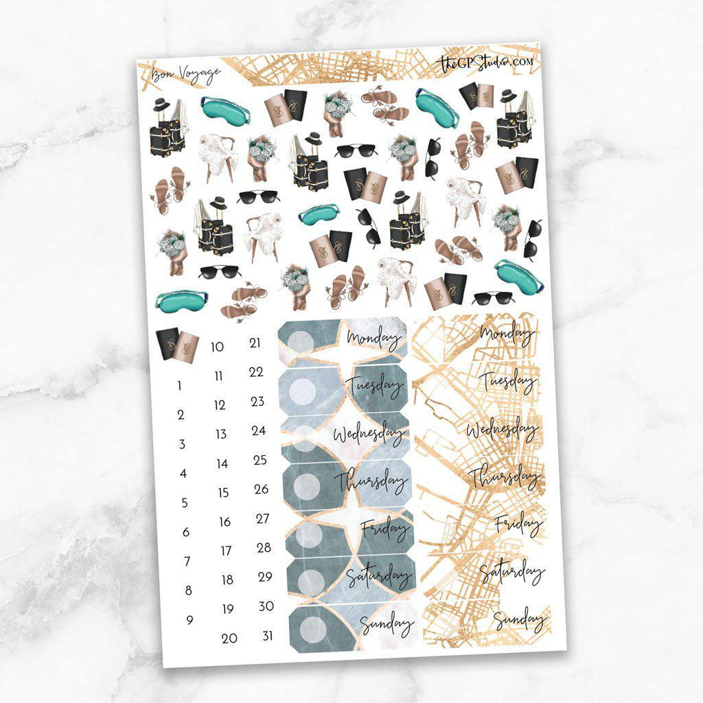 BON VOYAGE Deco & Date Cover Stickers-The GP Studio