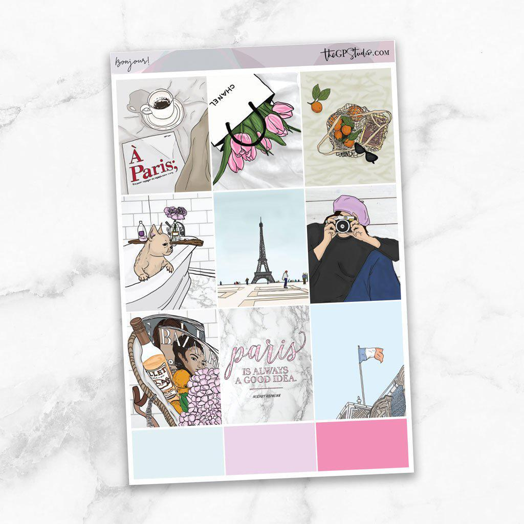 BONJOUR Full Boxes Planner Stickers-The GP Studio