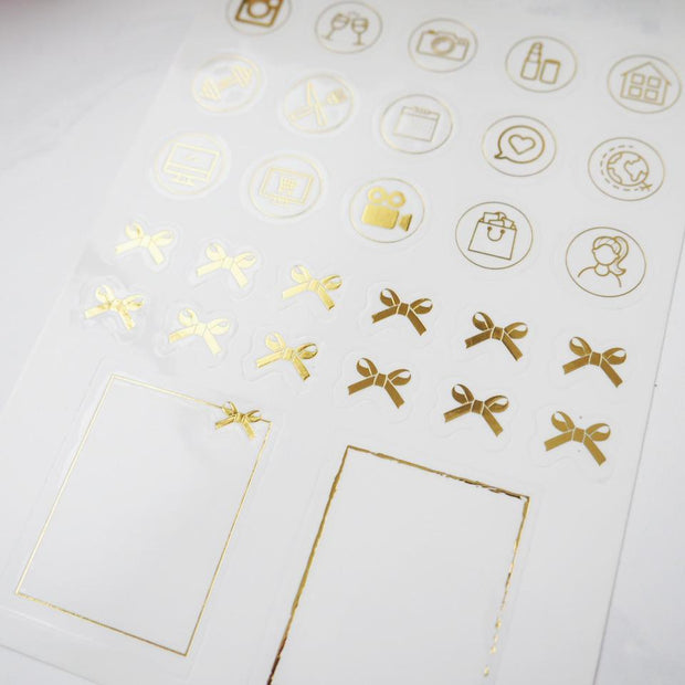 BOW AND ICONS FOIL SHEET-The GP Studio