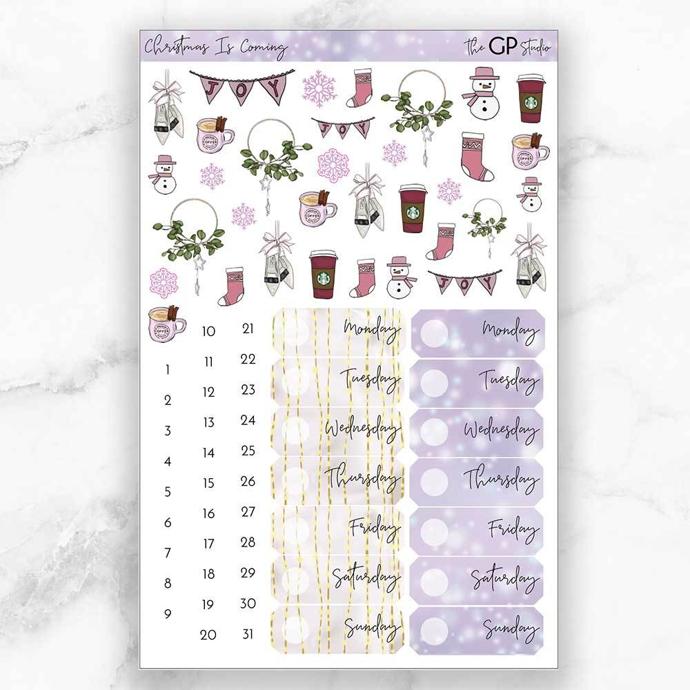 CHRISTMAS IS COMING Deco & Date Cover Stickers-The GP Studio