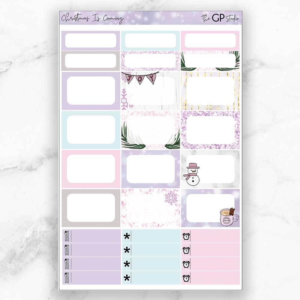 CHRISTMAS IS COMING Half Boxes Planner Stickers-The GP Studio