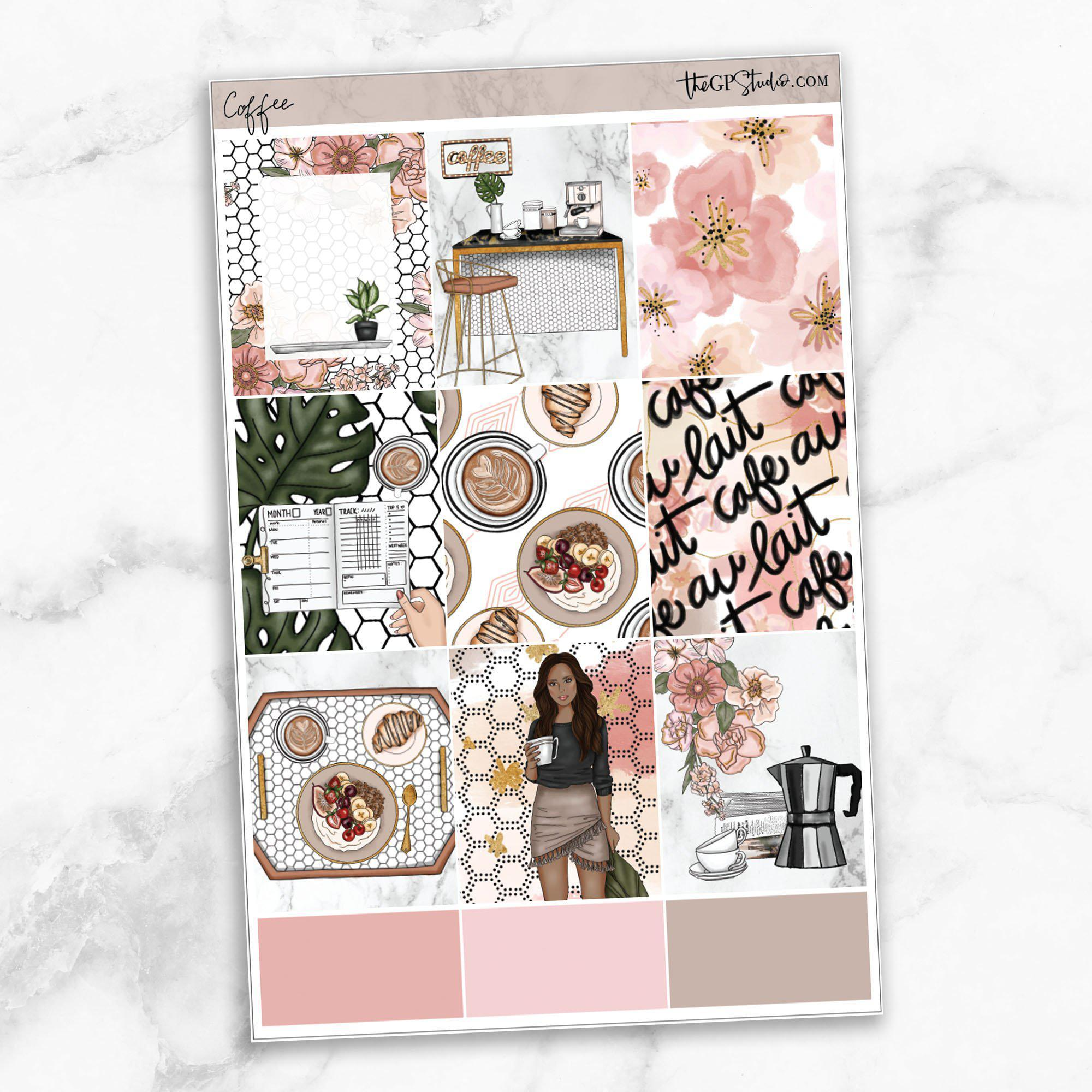 COFFEE FIRST Full Boxes Planner Stickers-The GP Studio