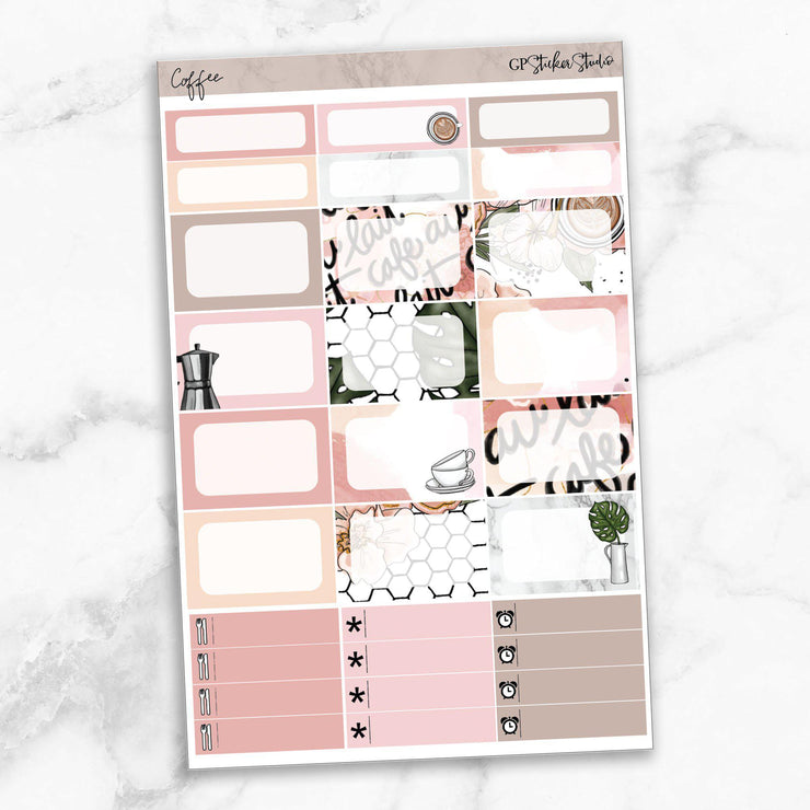 COFFEE FIRST Half Boxes Planner Stickers-The GP Studio