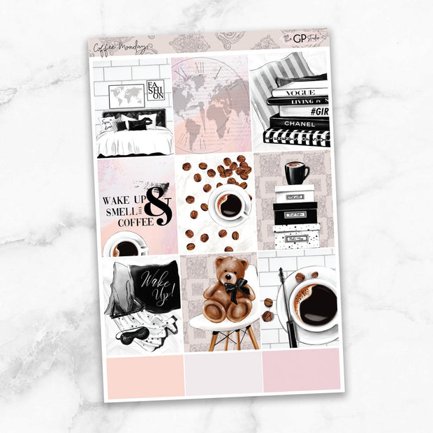 COFFEE MONDAY Full Boxes Planner Stickers-The GP Studio
