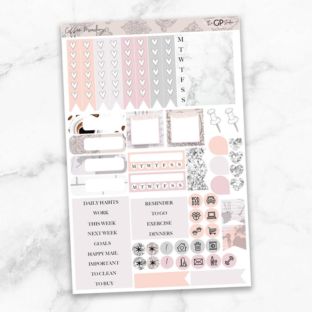COFFEE MONDAY Functional Planner Sticker Kit-The GP Studio
