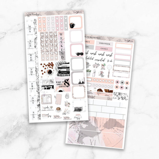 COFFEE MONDAY Hobonichi Weekly Size Planner Sticker Kit-The GP Studio