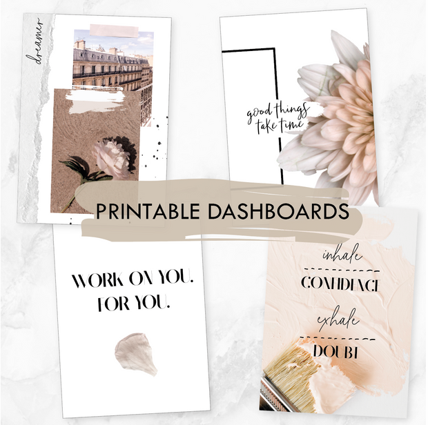 COLLAGE PRINTABLE DASHBOARDS - SET OF 4 (DIGITAL DOWNLOAD)-The GP Studio