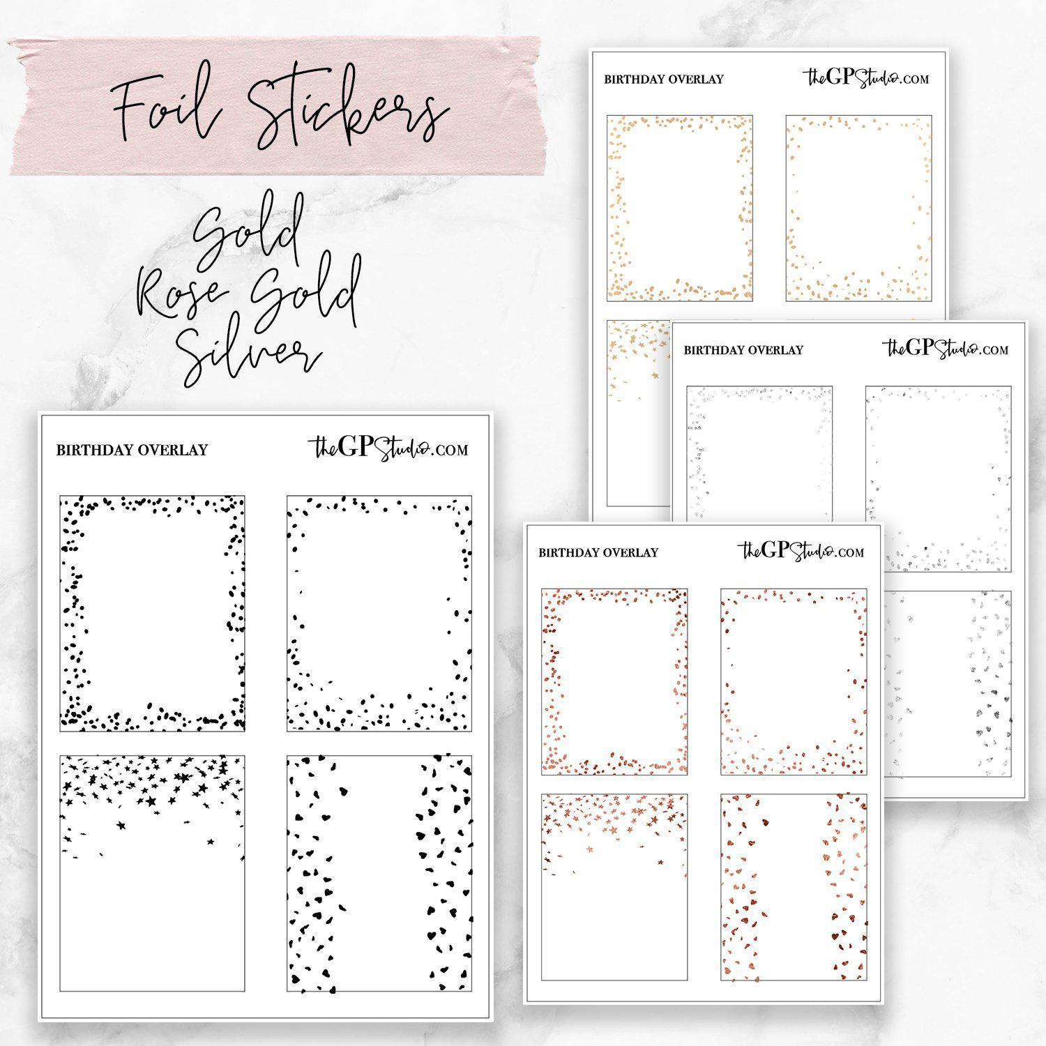 CONFETTI Clear Foil Overlay Full Boxes-The GP Studio