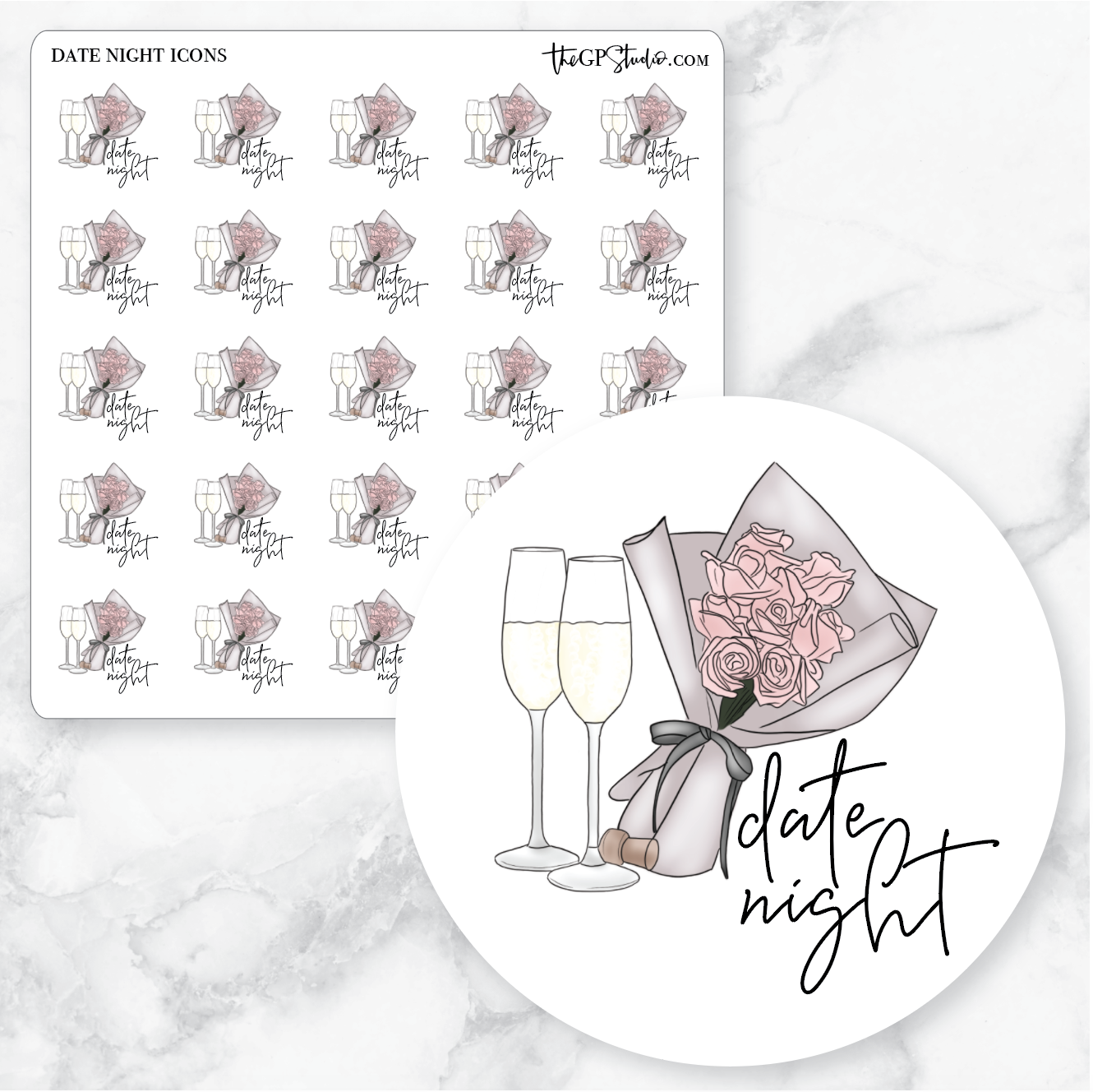 DATE NIGHT Icon Planner Stickers-The GP Studio