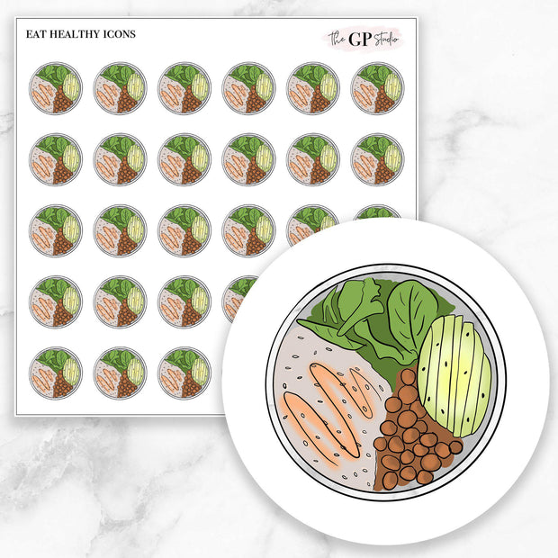 EAT HEALTHY Icons Stickers-The GP Studio