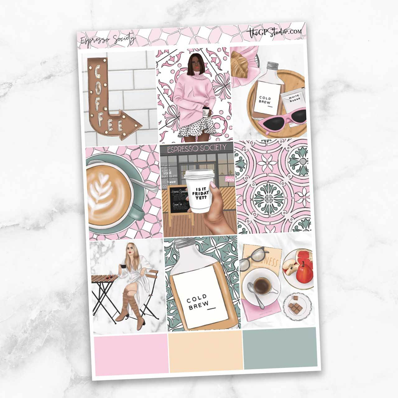ESPRESSO SOCIETY Full Boxes Planner Stickers-The GP Studio