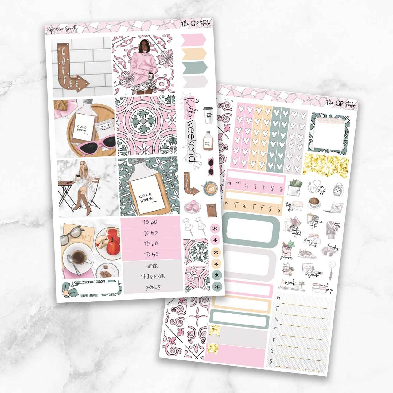 ESPRESSO SOCIETY Mini Size Planner Sticker Kit-The GP Studio