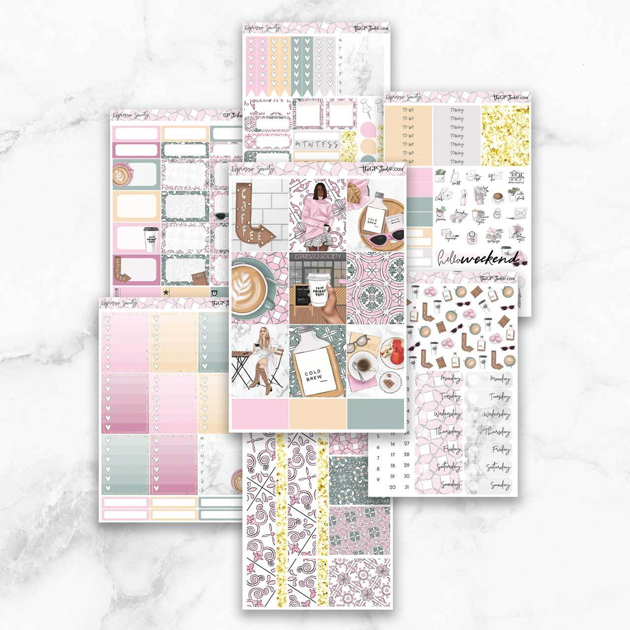 ESPRESSO SOCIETY Planner Sticker Kit-The GP Studio