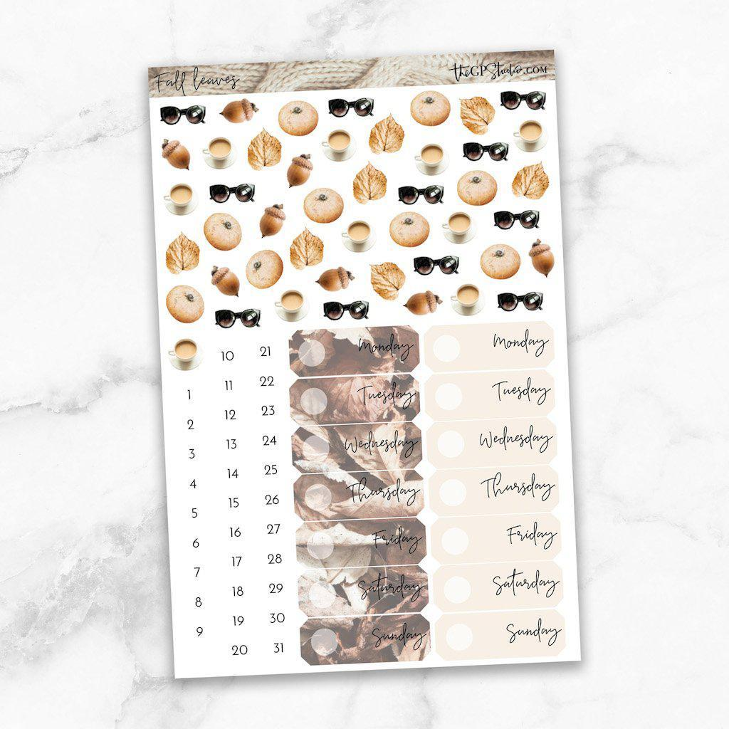 FALL LEAVES Deco & Date Cover Stickers-The GP Studio