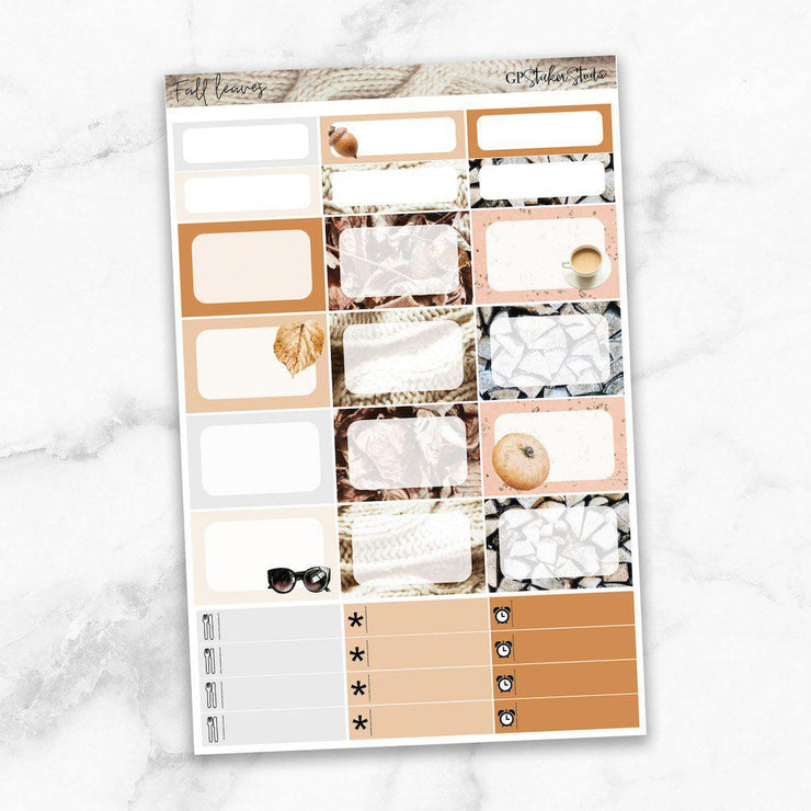 FALL LEAVES Half Boxes Planner Stickers-The GP Studio