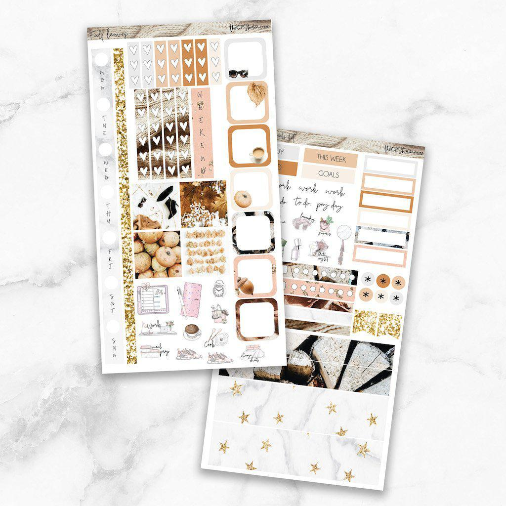 FALL LEAVES Hobonichi Weekly Size Planner Sticker Kit-The GP Studio