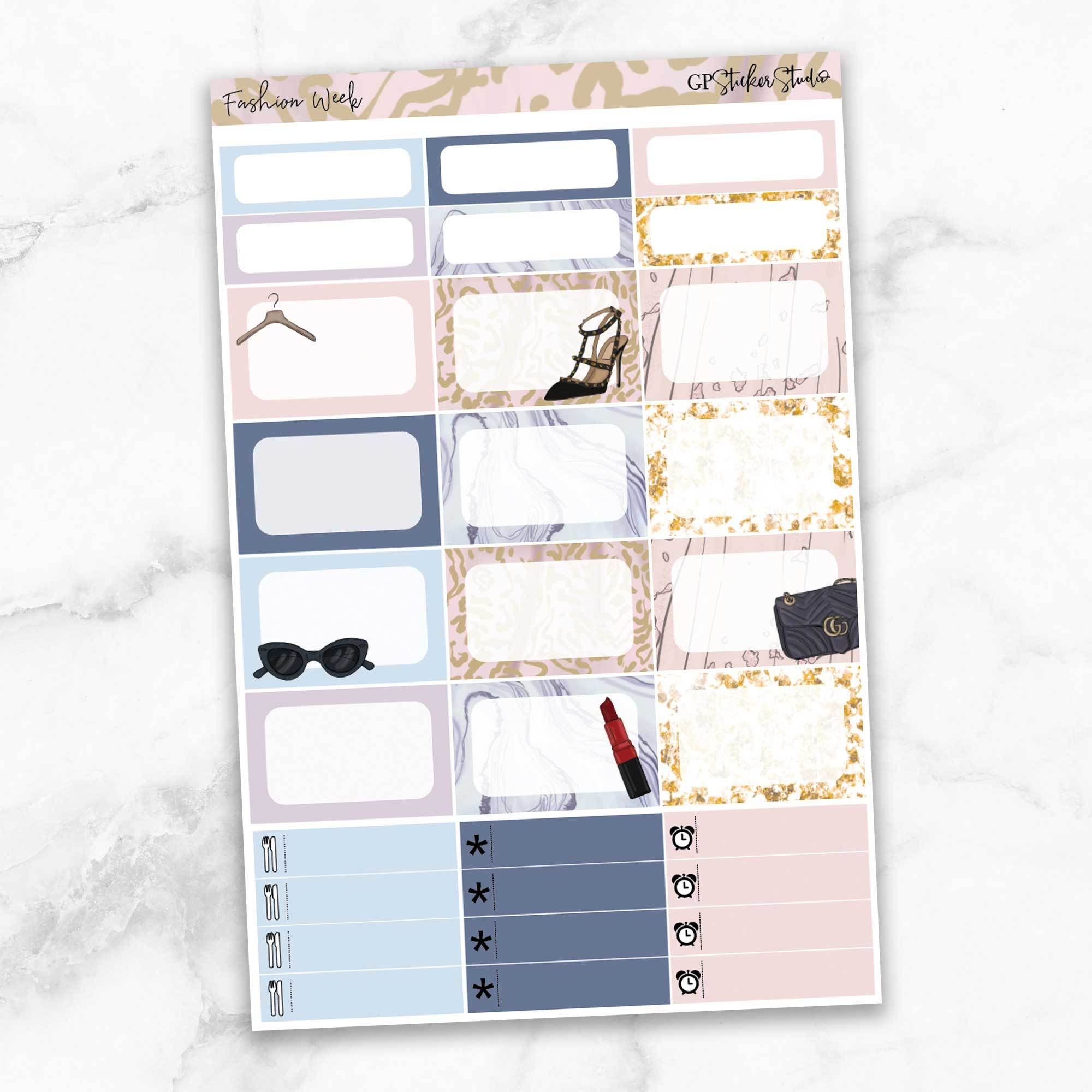 FASHION WEEK Half Boxes Planner Stickers-The GP Studio