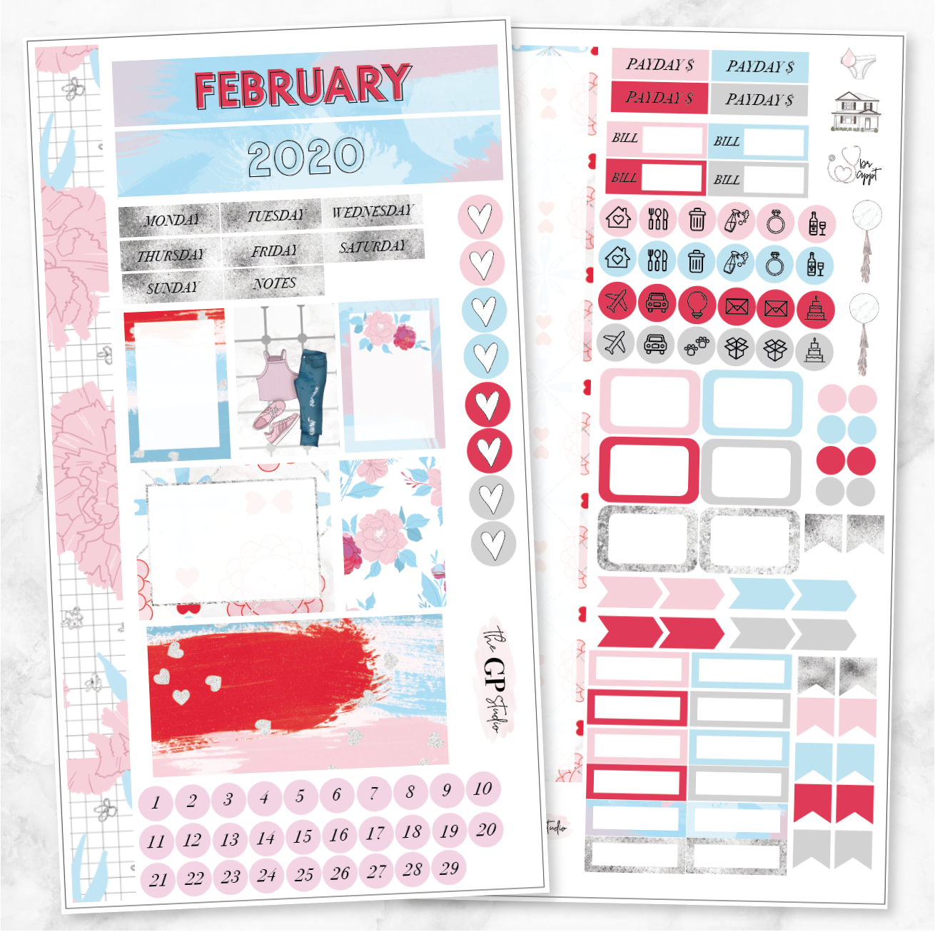 FEBRUARY 2020 MONTHLY VIEW Personal/TN Size Stickers-The GP Studio