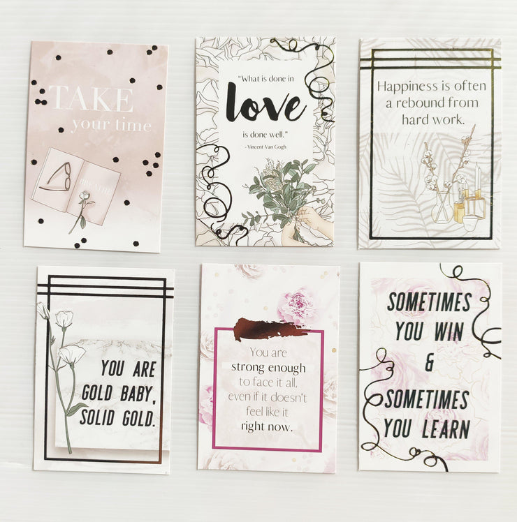 FEMME FLORAL GOLD FOIL QUOTE CARDS - pack of 6-The GP Studio