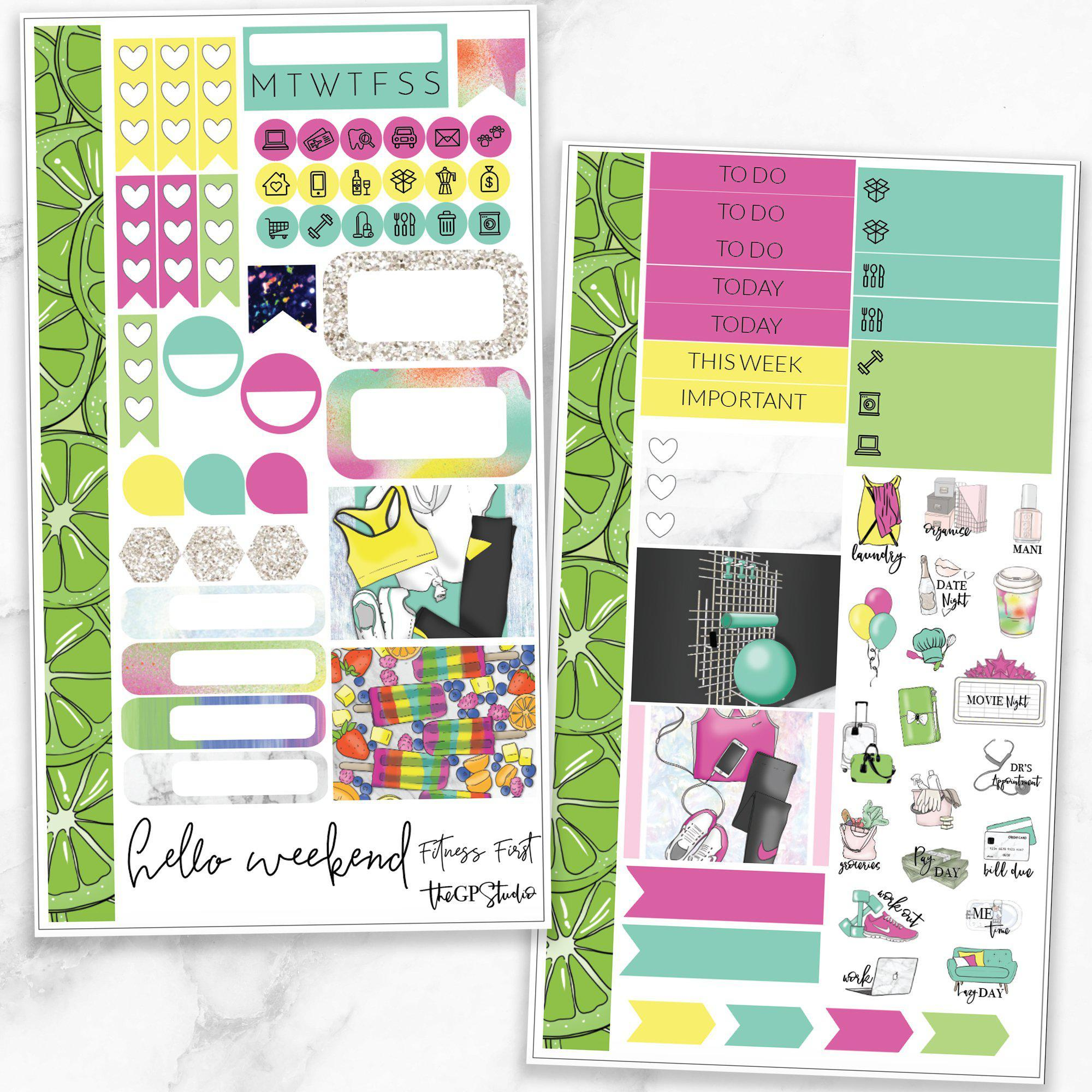 FITNESS FIRST Personal Size Planner Sticker Kit-The GP Studio