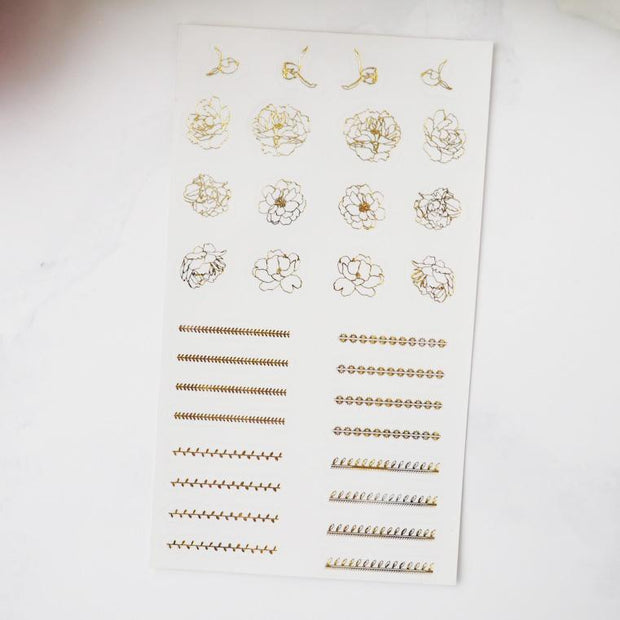 FLORAL AND LEAFY HEADERS FOIL SHEET-The GP Studio