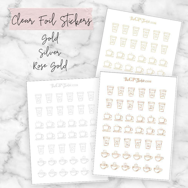 Foil Coffee Icon Clear Sticker-The GP Studio