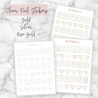 Foil Hearts Icon Clear Sticker-The GP Studio