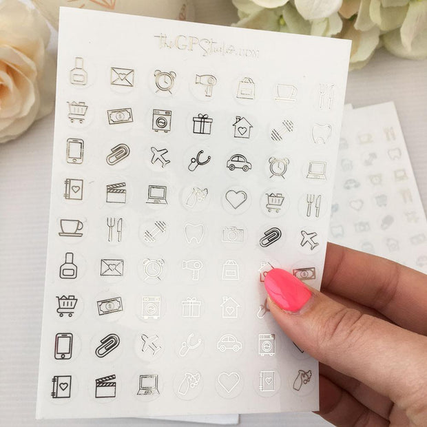 Foil Mixed Icons Clear Stickers-The GP Studio