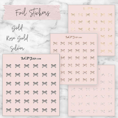 Foil Pink Bow Icon Sticker Sheet-The GP Studio