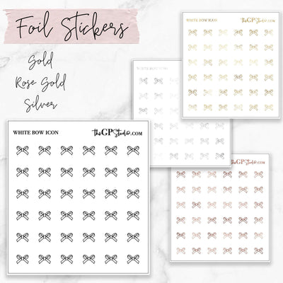 Foil White Bow Icon Sticker Sheet-The GP Studio