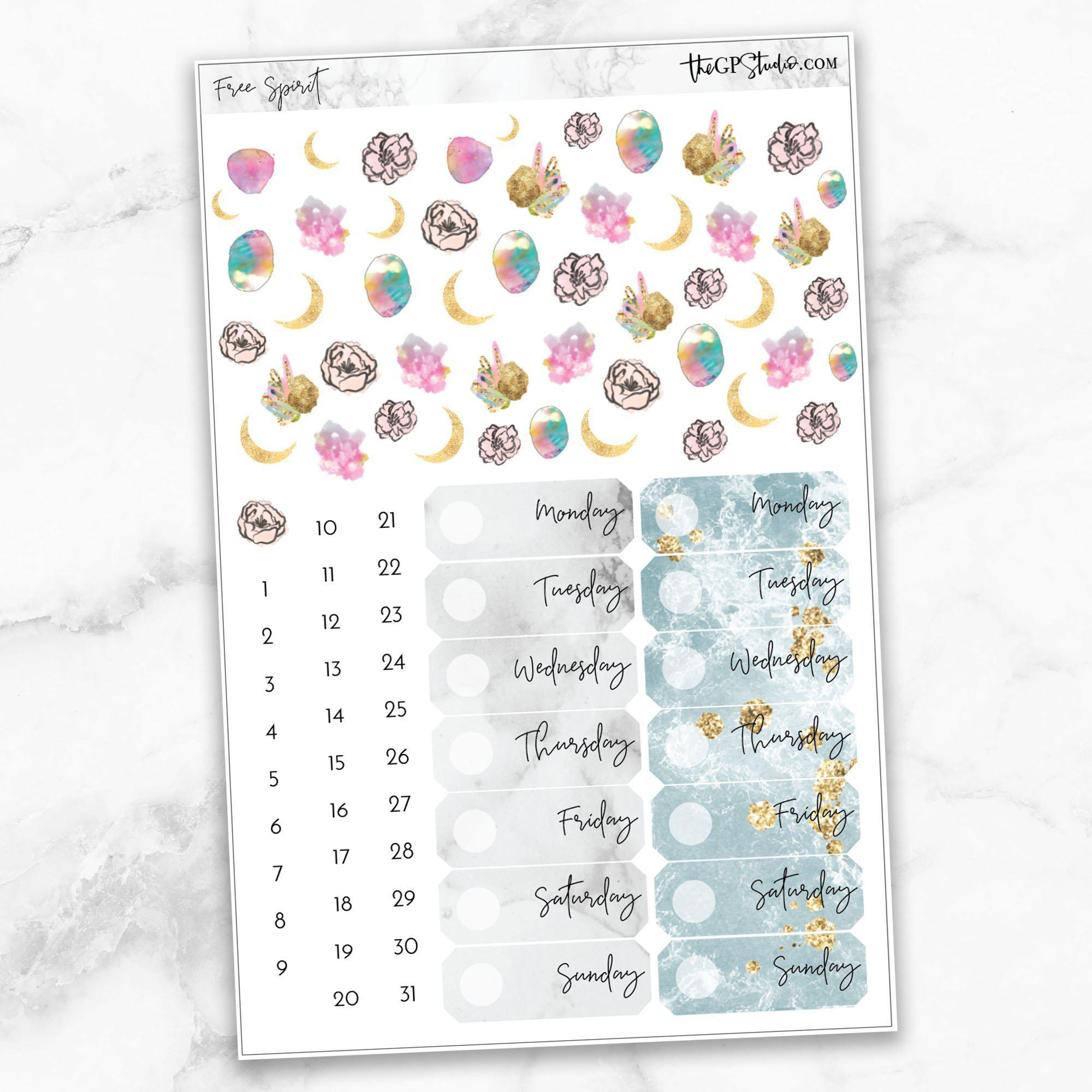 FREE SPIRIT Deco & Date Cover Stickers-The GP Studio
