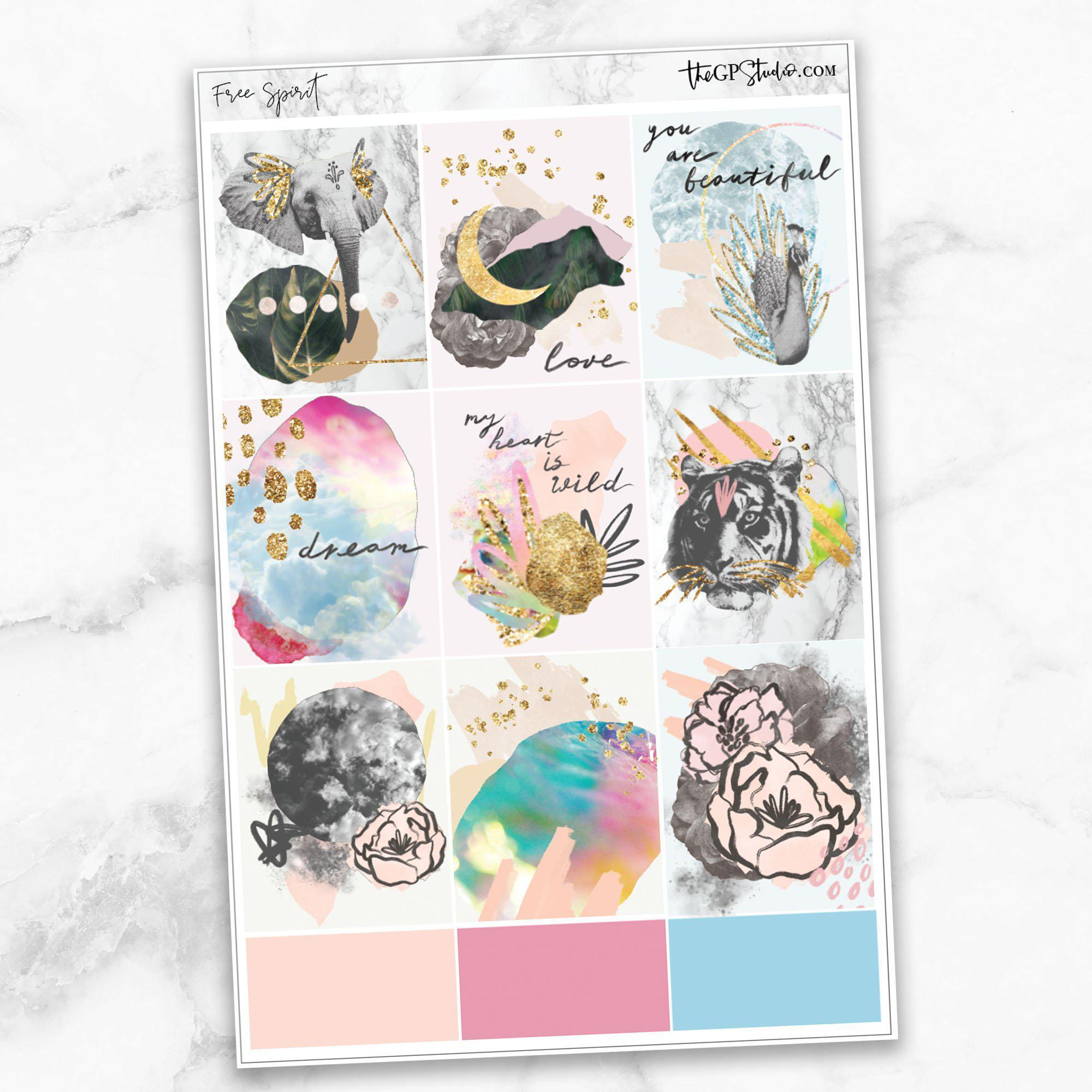 FREE SPIRIT Full Boxes Planner Stickers-The GP Studio
