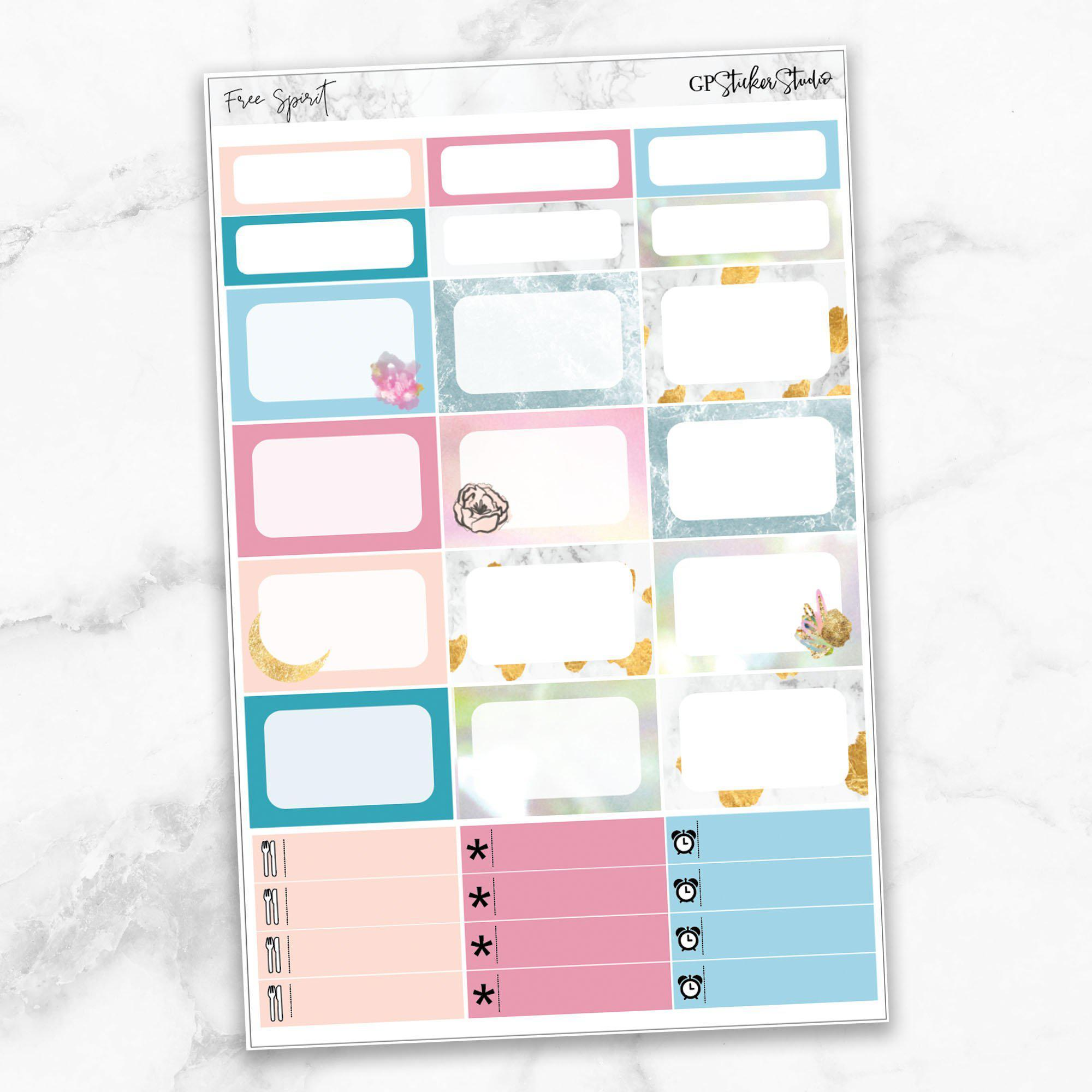 FREE SPIRIT Half Boxes Planner Stickers-The GP Studio