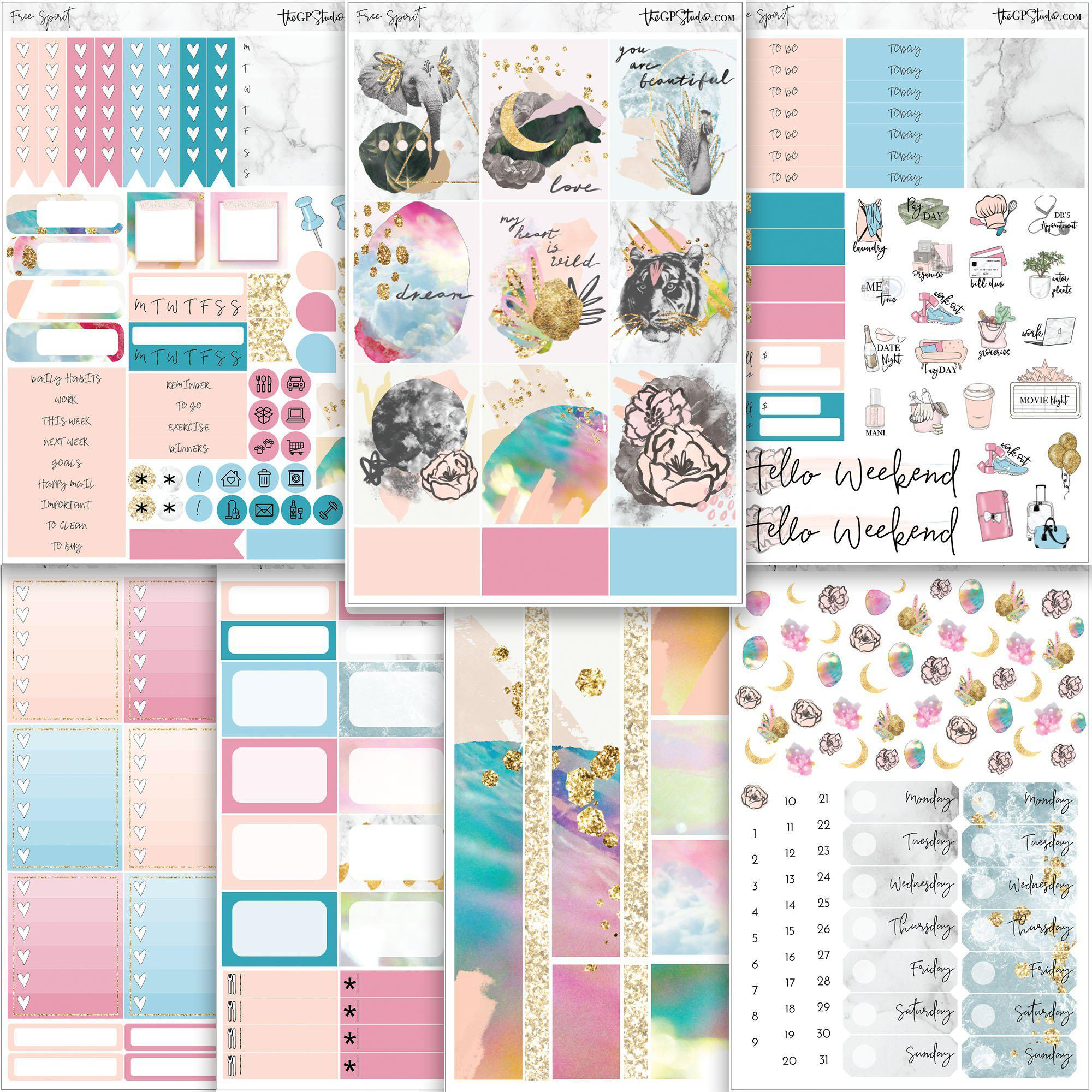 FREE SPIRIT Planner Sticker Kit-The GP Studio