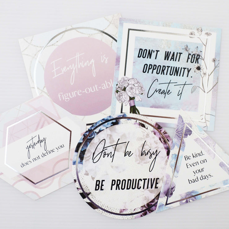 GILDED FLORALS SILVER FOIL QUOTE CARDS - pack of 5-The GP Studio