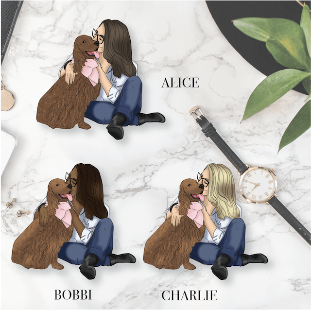 GP Dark Coat Dog Girl DIE CUT - Available in 3 skintones/hair colours-The GP Studio