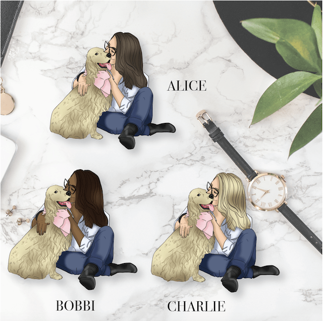 GP Light Coat Dog Girl DIE CUT - Available in 3 skintones/hair colours-The GP Studio