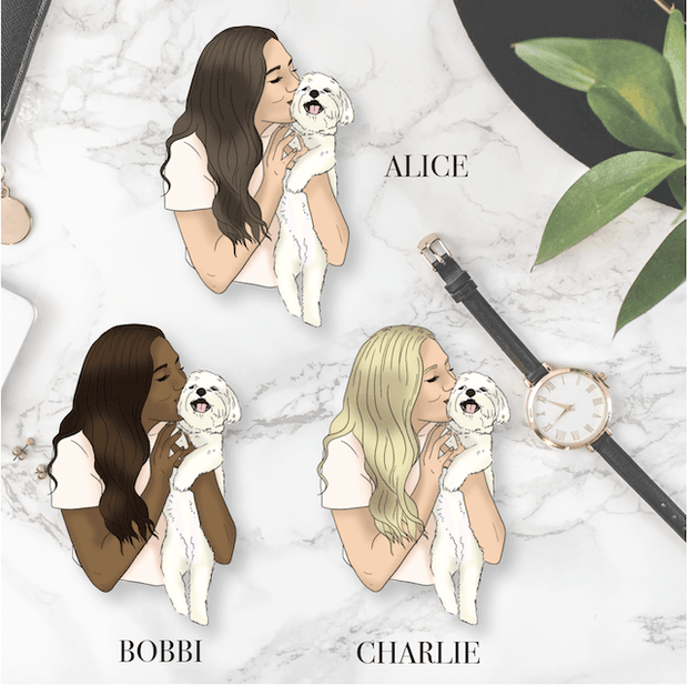 GP Small Dog Girl DIE CUT - Available in 3 skintones/hair colours-The GP Studio